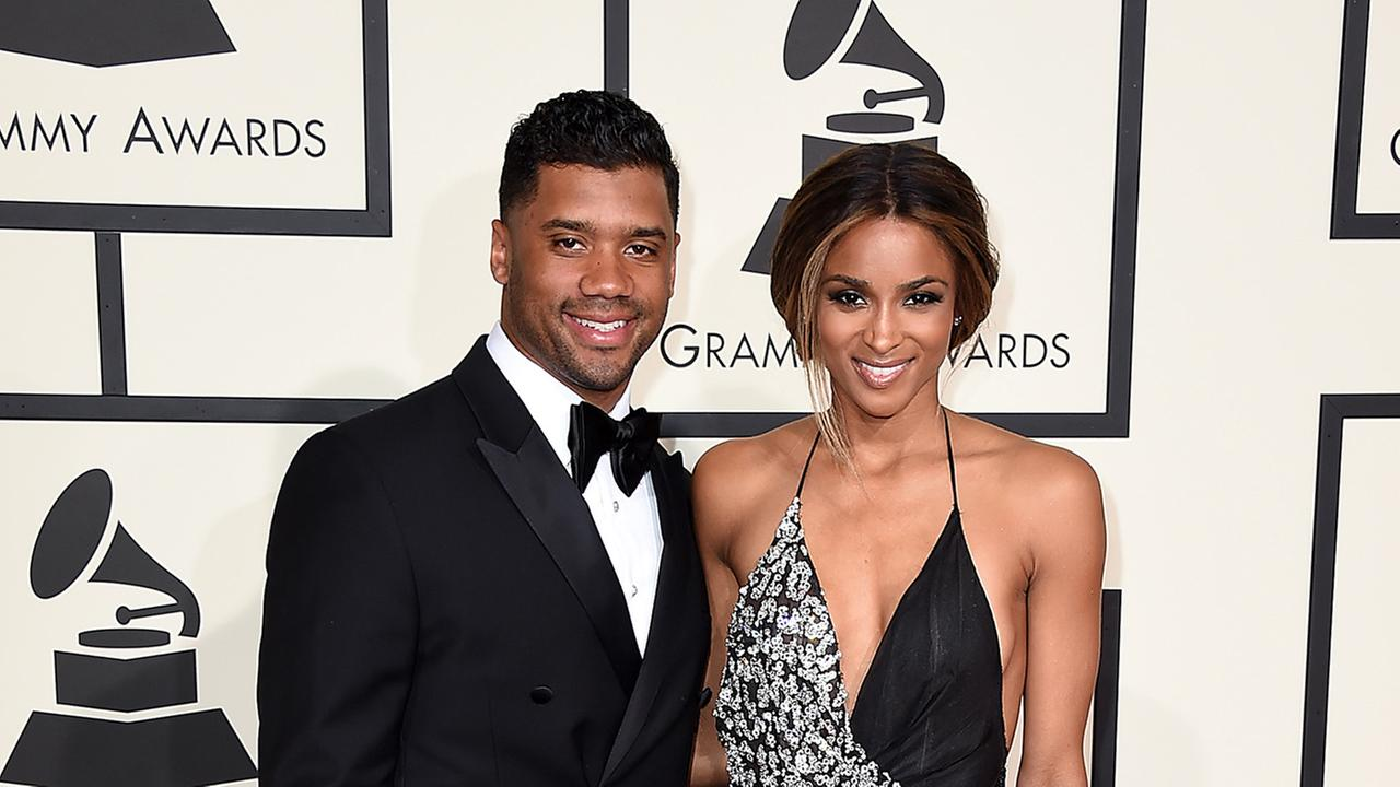 Russell Wilson and Ciara at the Grammy Awards on Feb. 15