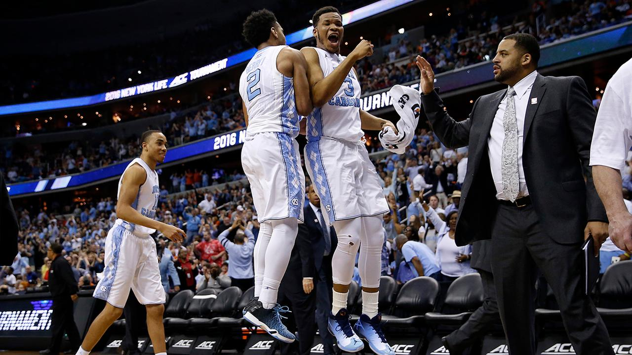 North Carolina guard Joel Berry II (2) and forward Kennedy Meeks had a lot to celebrate Friday.