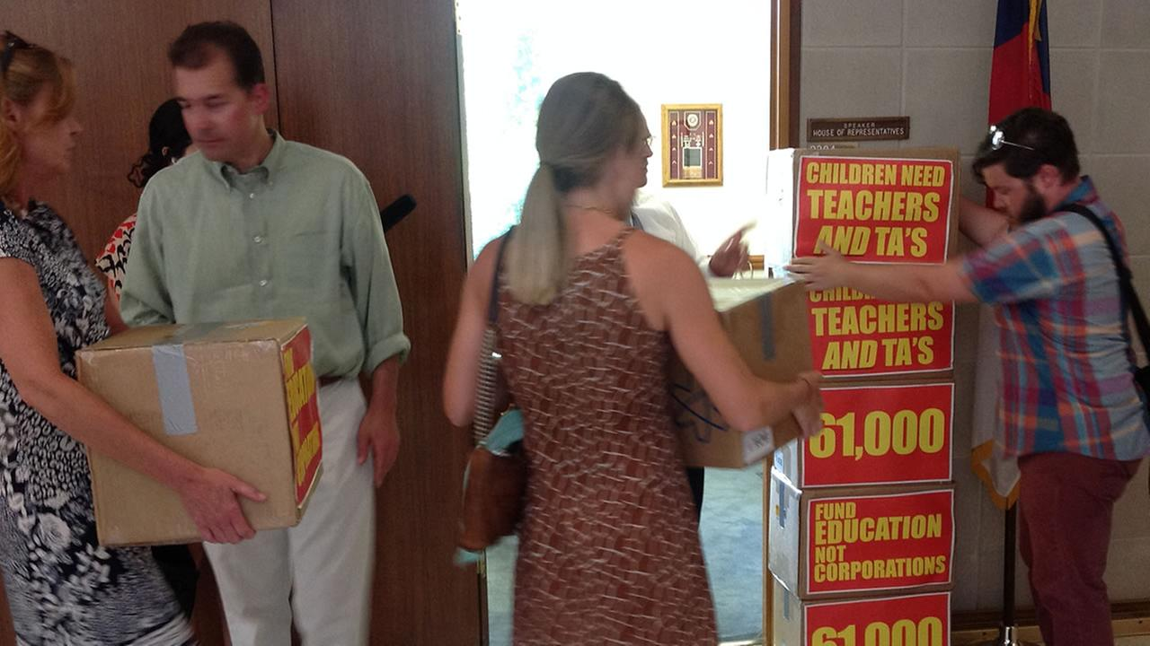 Teacher petitions arrive at State Capitol in Raleigh