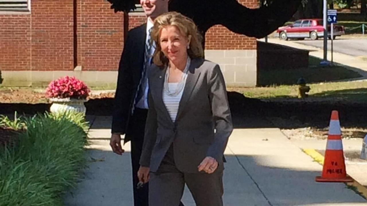 Senator Kay Hagan arrives at the Fayetteville VA (WTVD Photo/Anthony Wilson)