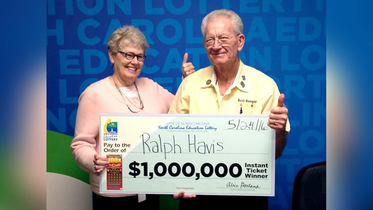 Ralph Havis of Greensboro (right) celebrates third big lottery win with Alice Garland, executive director of the N.C. Education Lottery.