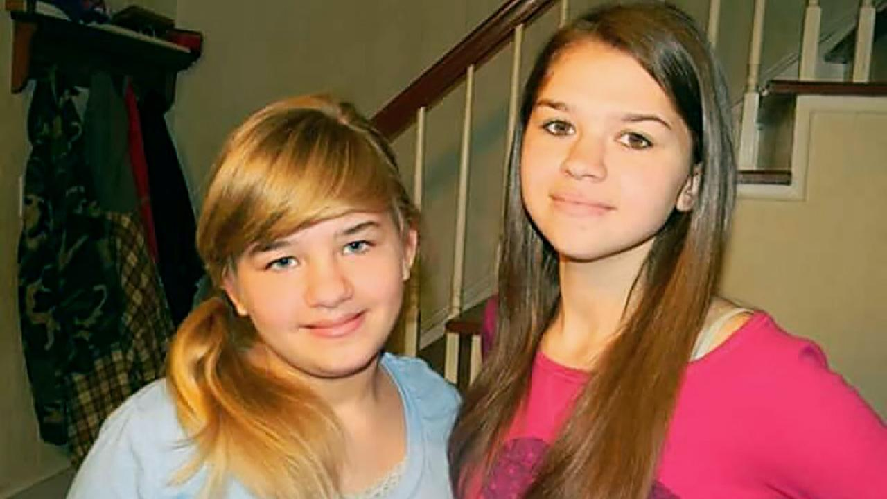 Paige Fitzgerald, left, is still in the hospital, and big sister Faith, right, was killed in the three-car accident.