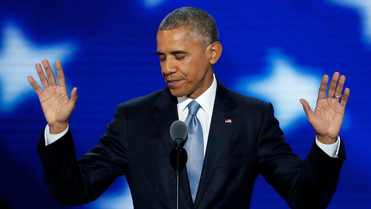President Barack Obama speaks during the third day of the Democratic National Convention in Philadelphia.