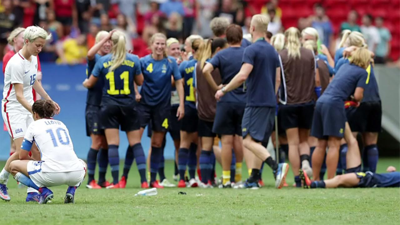 Sweden celebrates after stunning the US womens soccer team at the Olympics on Friday.