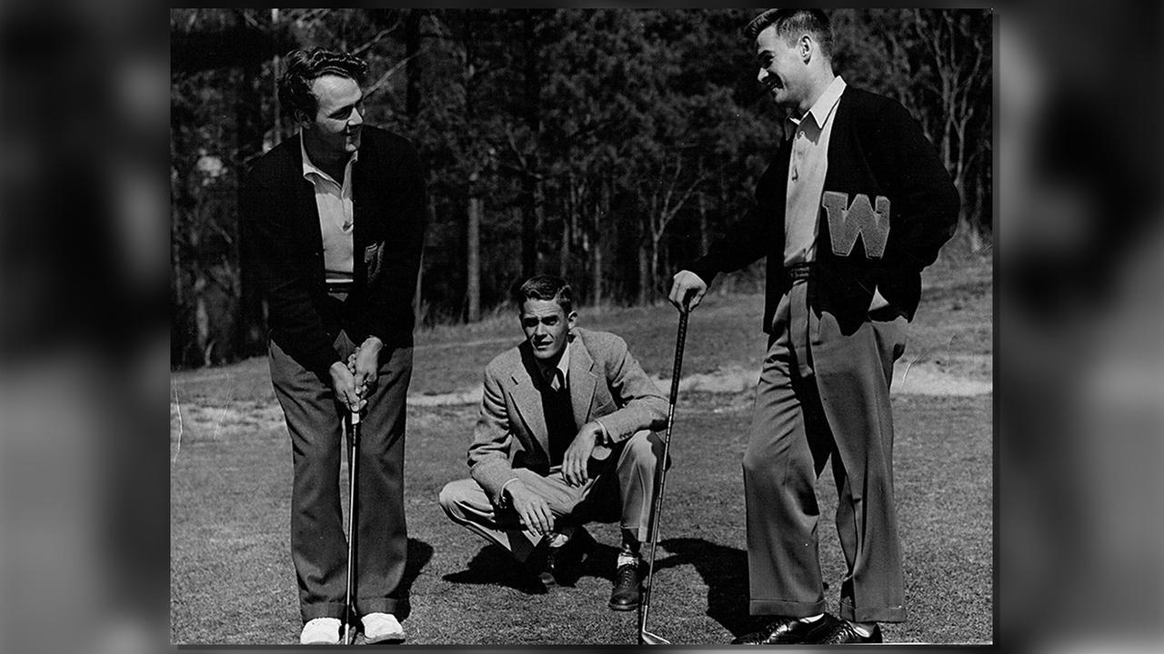 Arnold Palmer on the Wake Forest golf team, left, along with  golf coach Johnny Johnston and Buddy Worsham, Arnold Palmers best friend, on the right.