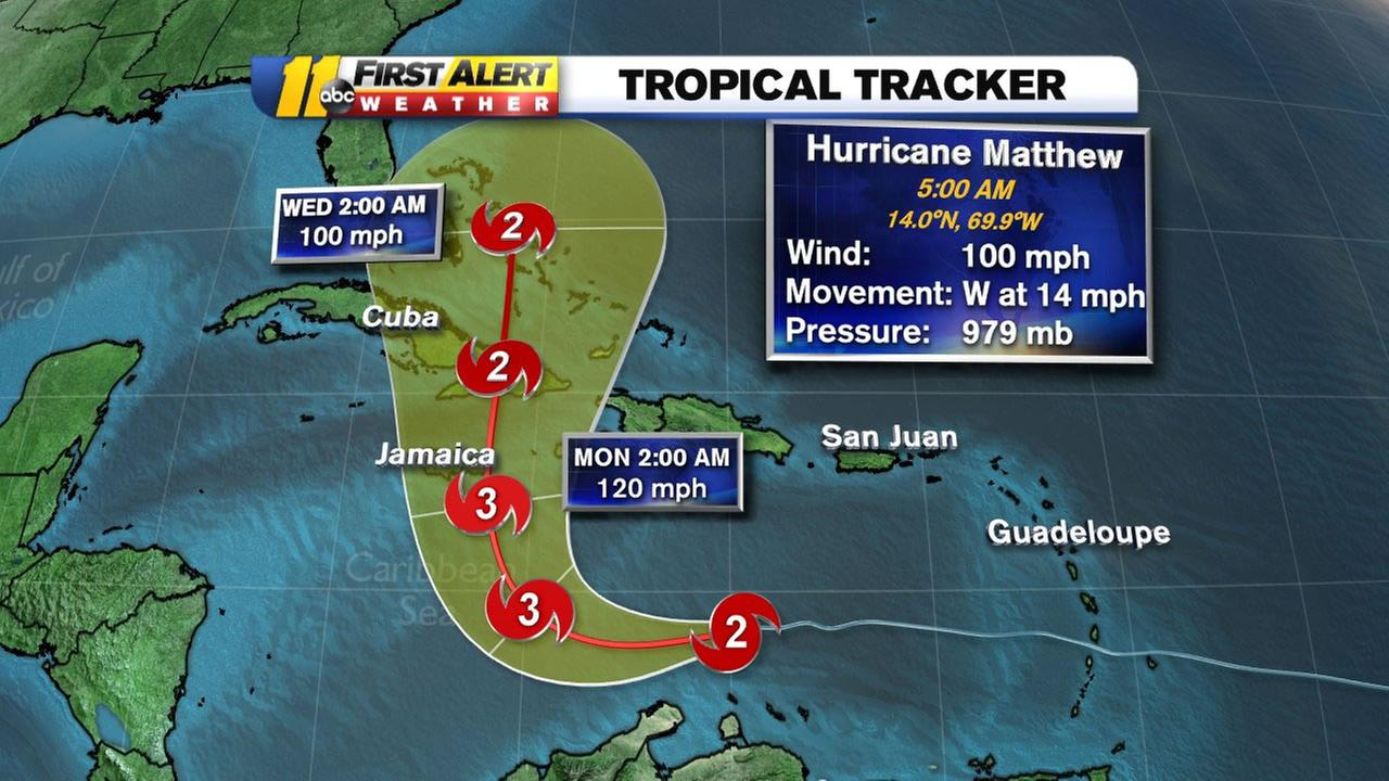 The latest projected track for Hurricane Matthew.