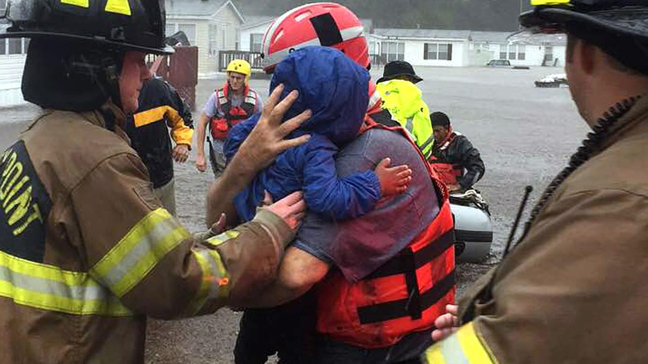 Members of the Stoney Point Fire Department rescue people from Hurricane Matthew flooding - photo by Captain Joe Belcher.