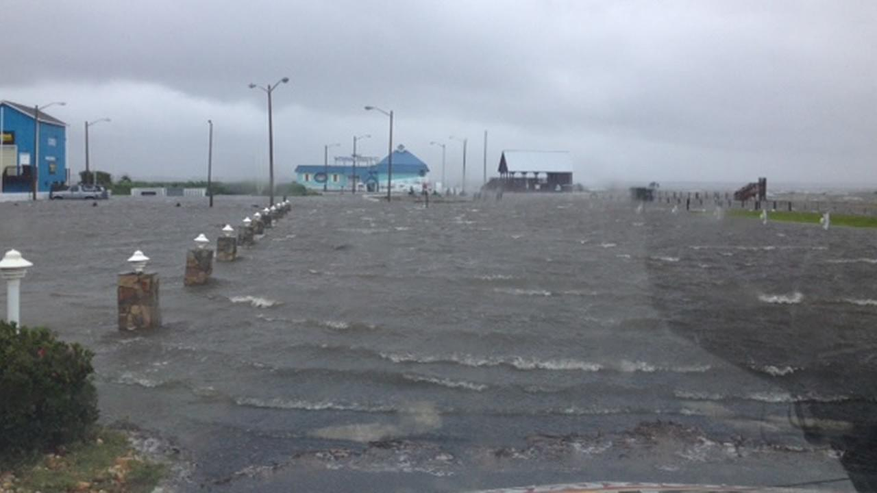Sound-side flooding at Nags Head caused by Hurricane Arthur.