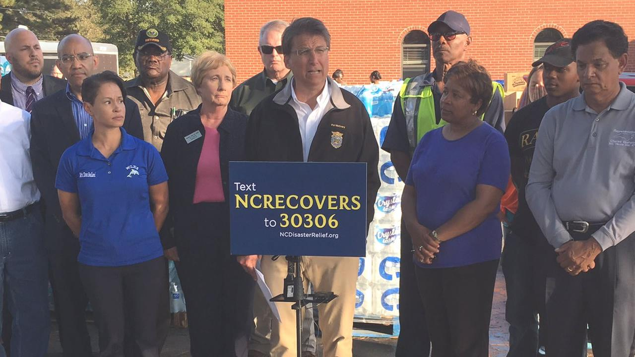 Governor Pat McCrory in Lumberton Thursday.
