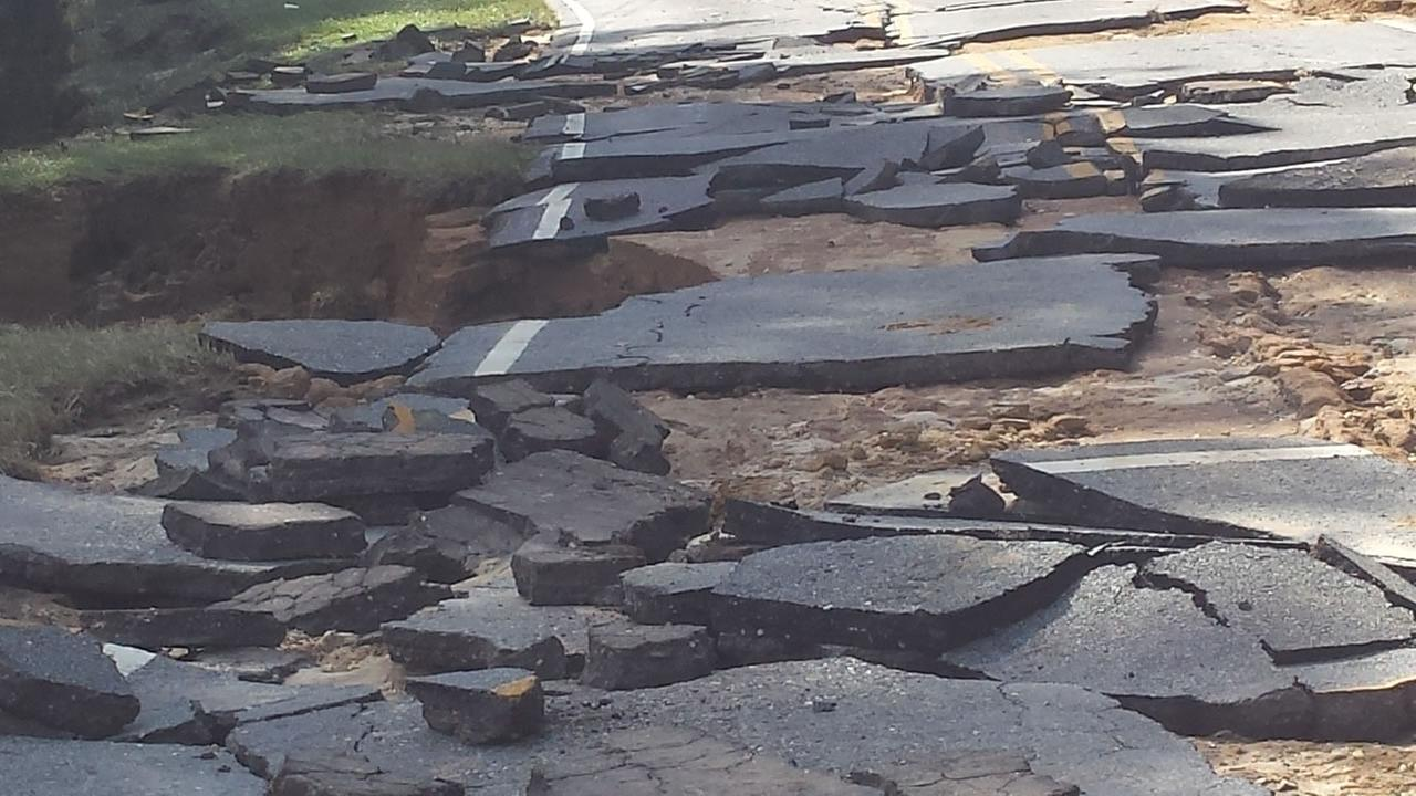 One of the hundreds of North Carolina roads damaged by Hurricane Matthew.