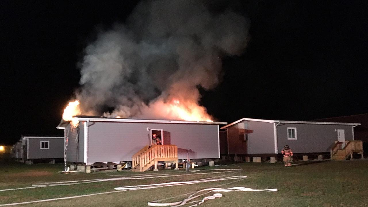 Fire at a mobile classroom in Johnston County