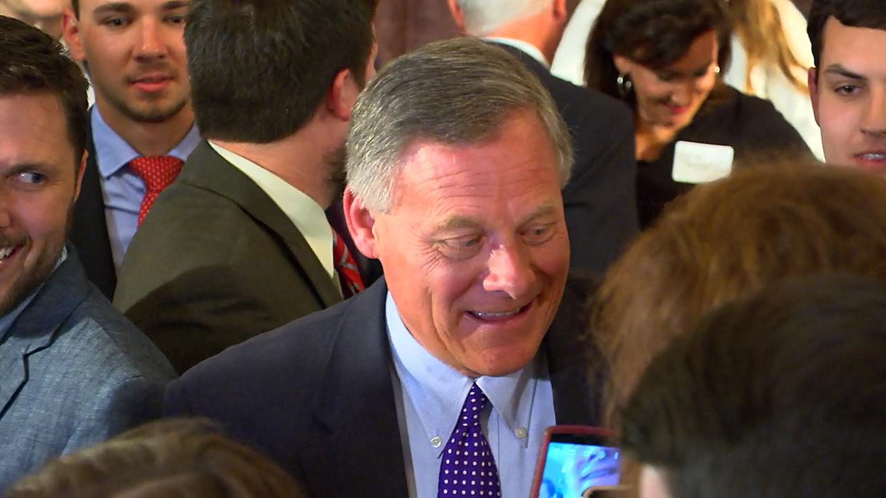 Sen. Richard Burr after his victory against Deborah Ross.