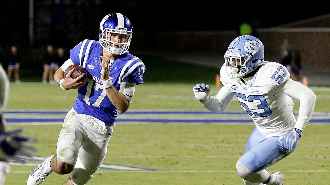 Daniel Jones ran for two scores and threw for another against the Tar Heels on Nov. 10, 2016.