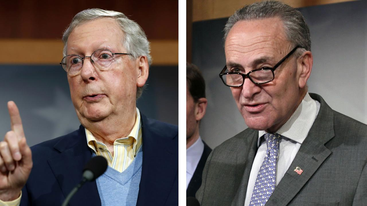 Senators Mitch McConnell and Charles Schumer (AP Photos/Alex Brandon and Lauren Victoria Burke)