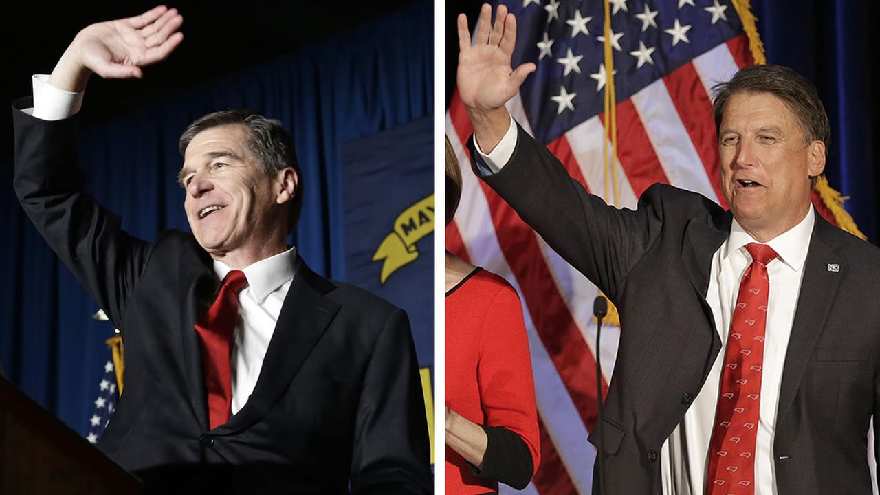 Roy Cooper and Pat McCrory (AP images Gerry Broome and Chuck Burton)