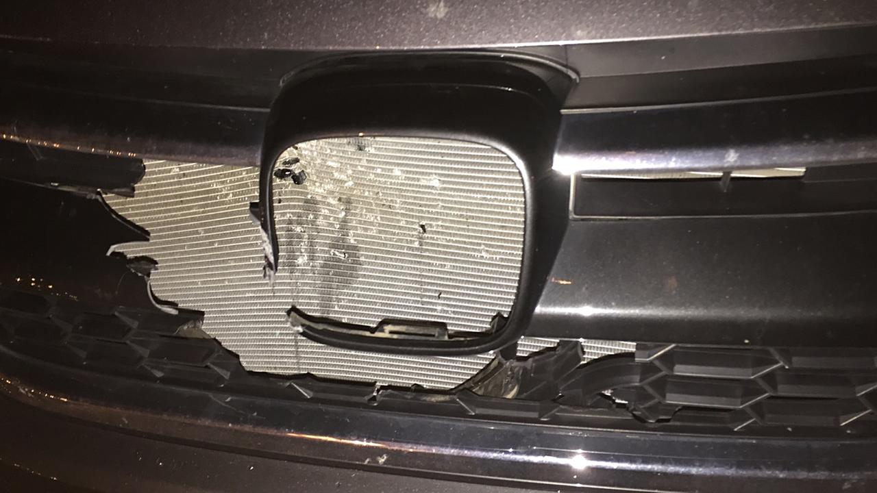 Damage to the front of Teresa Padgetts vehicle.