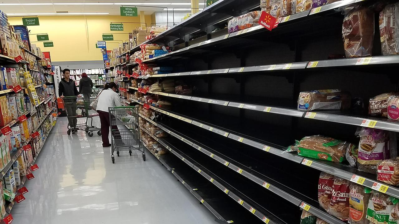 Bare shelves on the bread aisle at a Triangle-area Walmart Neighborhood Market.ABC11 Eyewitness
