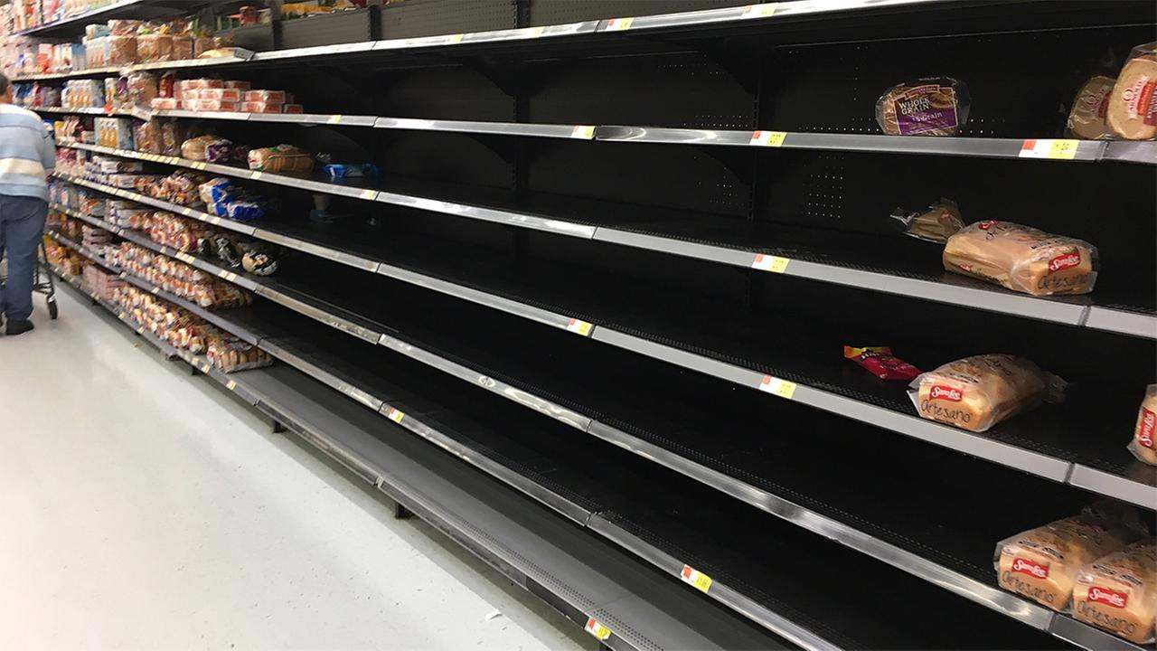 Bread aisle looking scarce at Walmart on Garden Road in Burlington.Lucas Perez - ABC11 Eyewitness
