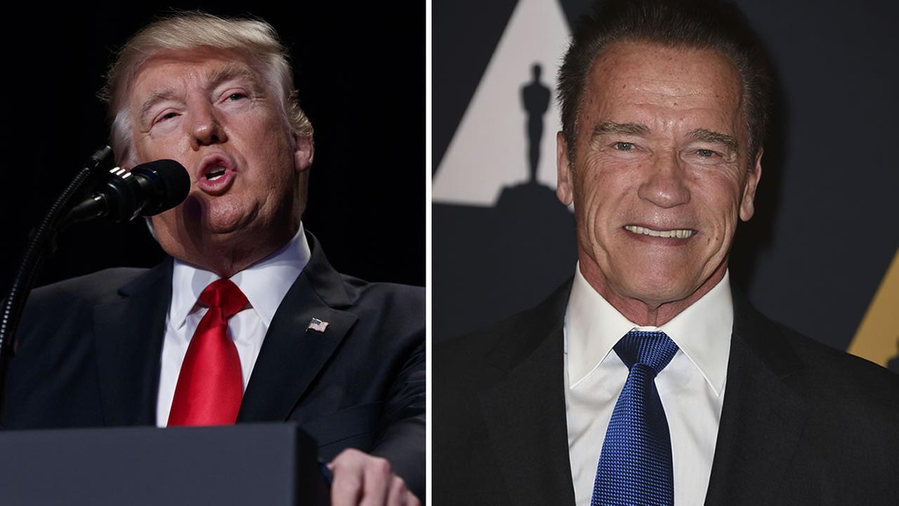 President Donald Trump speaks during the National Prayer Breakfast/Arnold Schwarzenegger (AP Photos/Evan Vucci and Jordan Strauss)