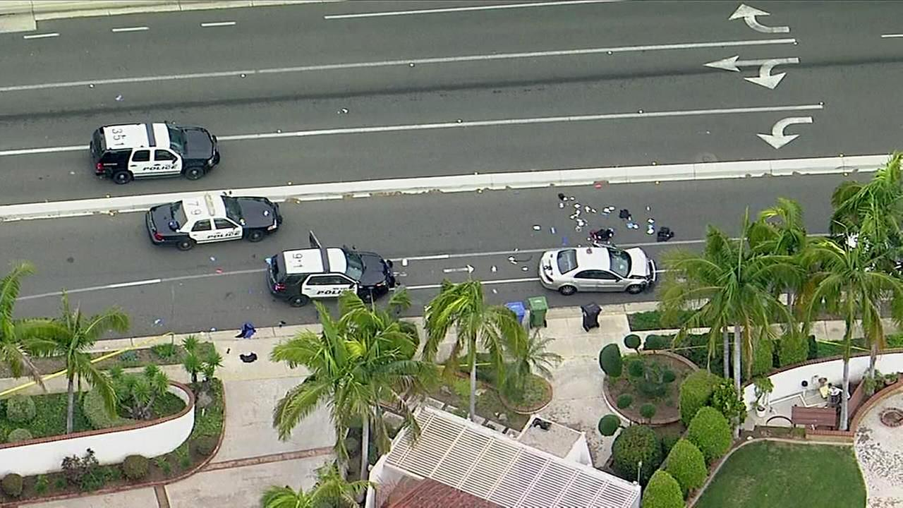Scene of an officer shooting in Whittier, Calif.