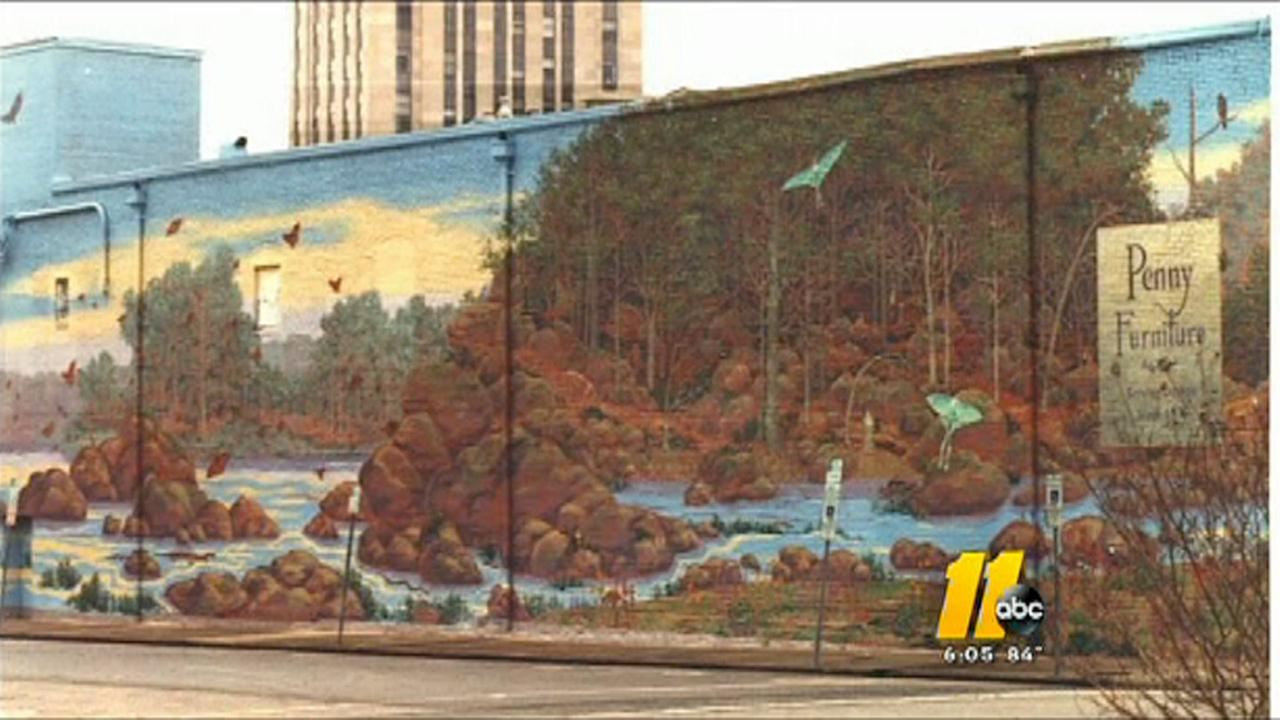 Durham mural before being painted over