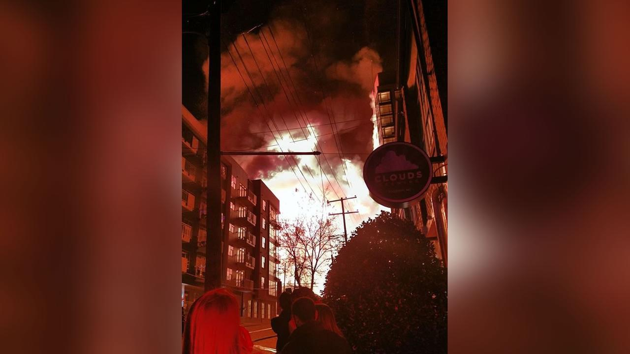 Downtown Raleigh fire (image courtesy Allison Lee)
