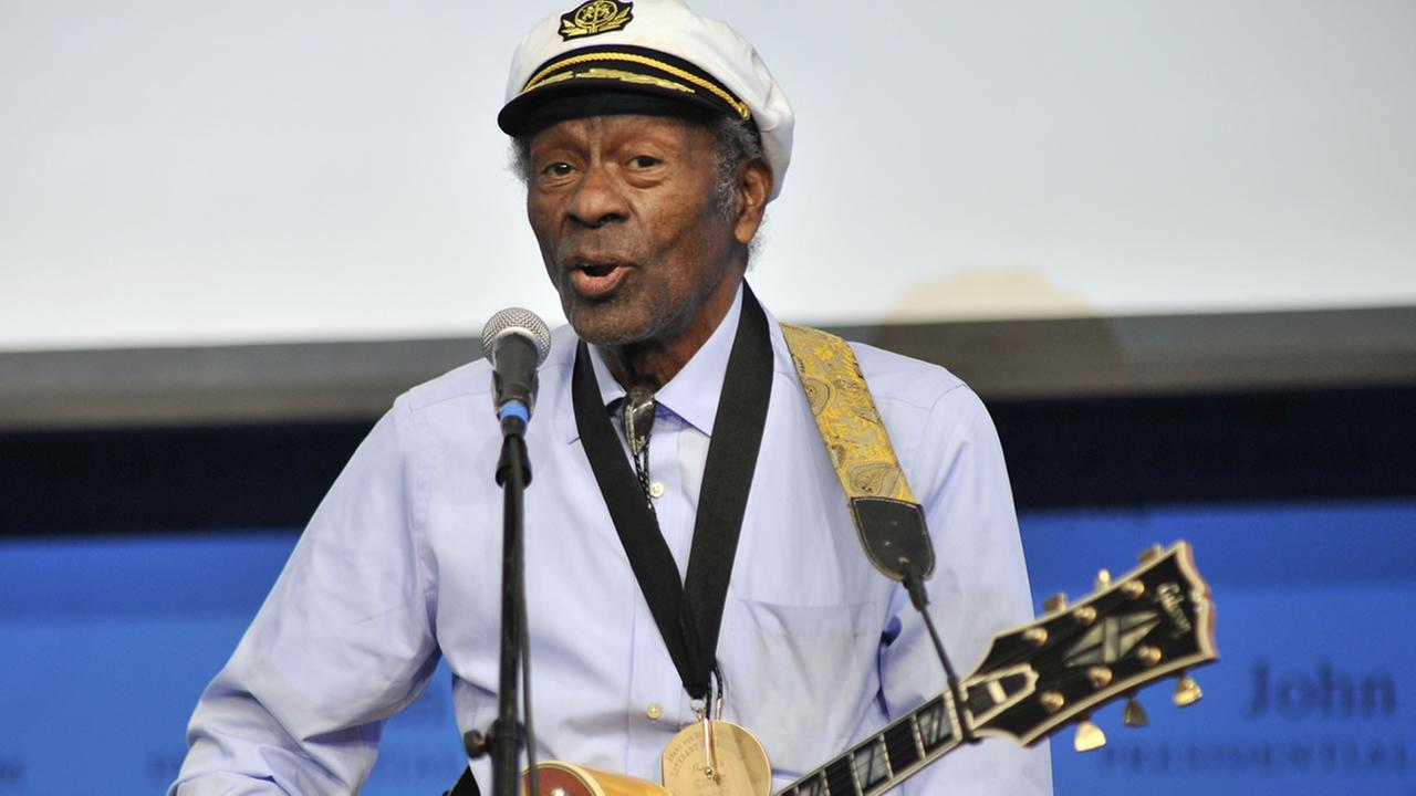 In this Feb. 26, 2012 file photo, rock n roll legend Chuck Berry performs Johnny B. Goode at the John F. Kennedy Presidential Library and Museum in Boston.
