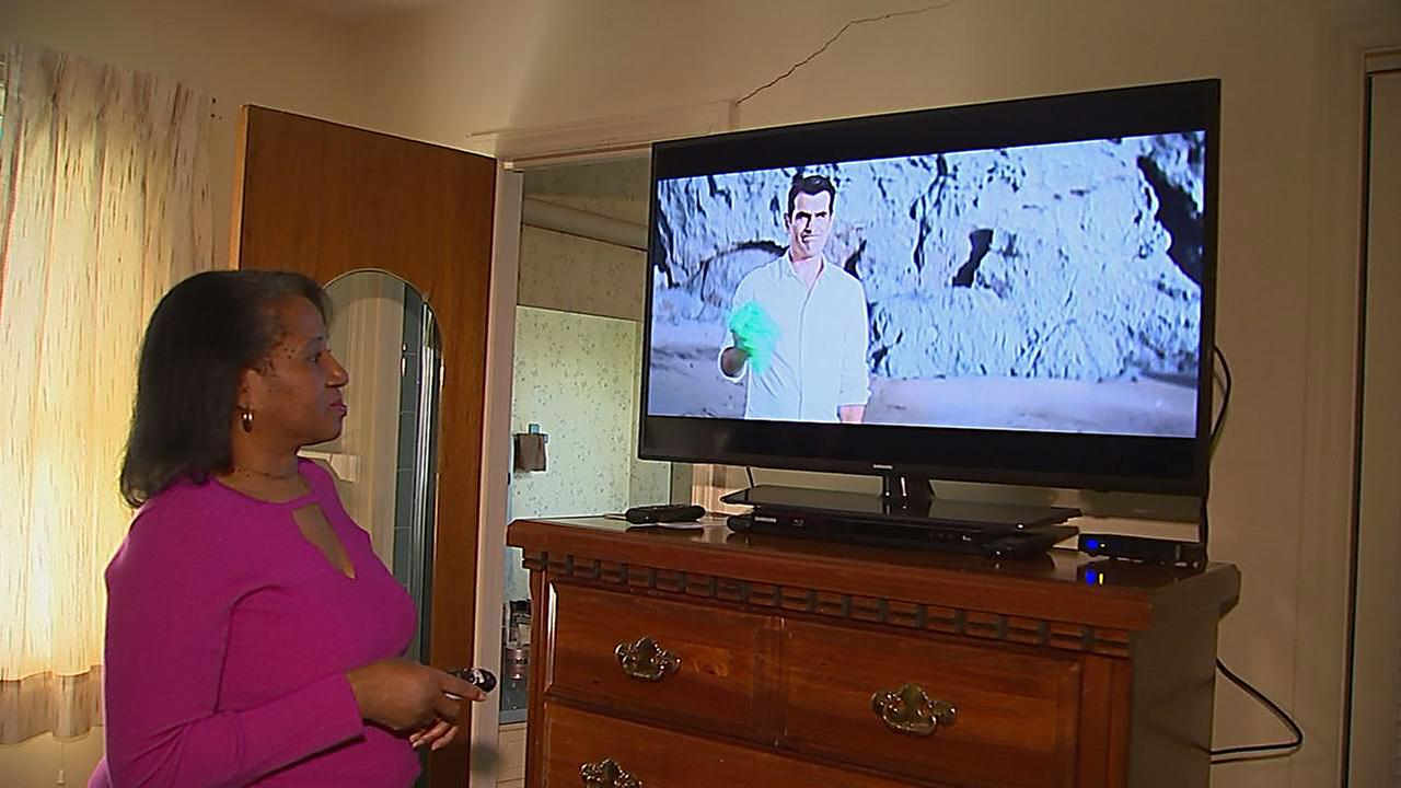 Doris Cooper is again enjoying the TV she received as a Christmas gift.