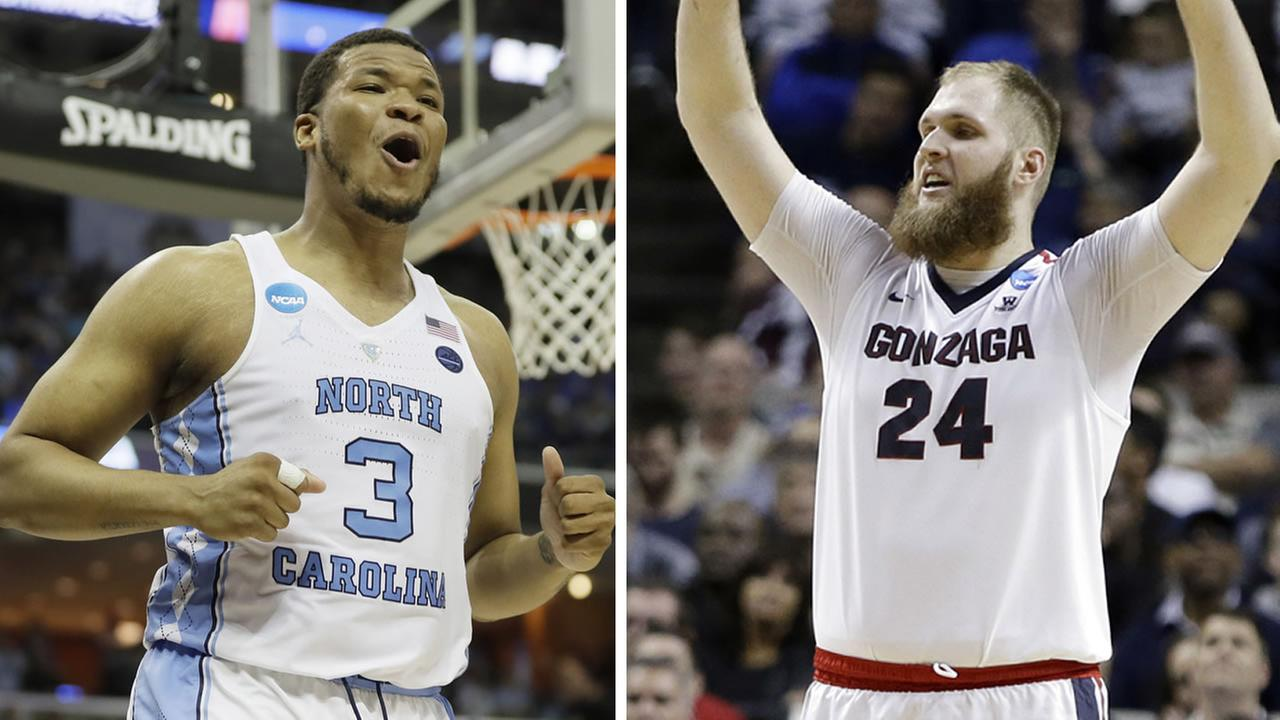 North Carolina forward Kennedy Meeks and Gonzaga center Przemek Karnowski  (AP photos Mark Humphrey and Ben Margot