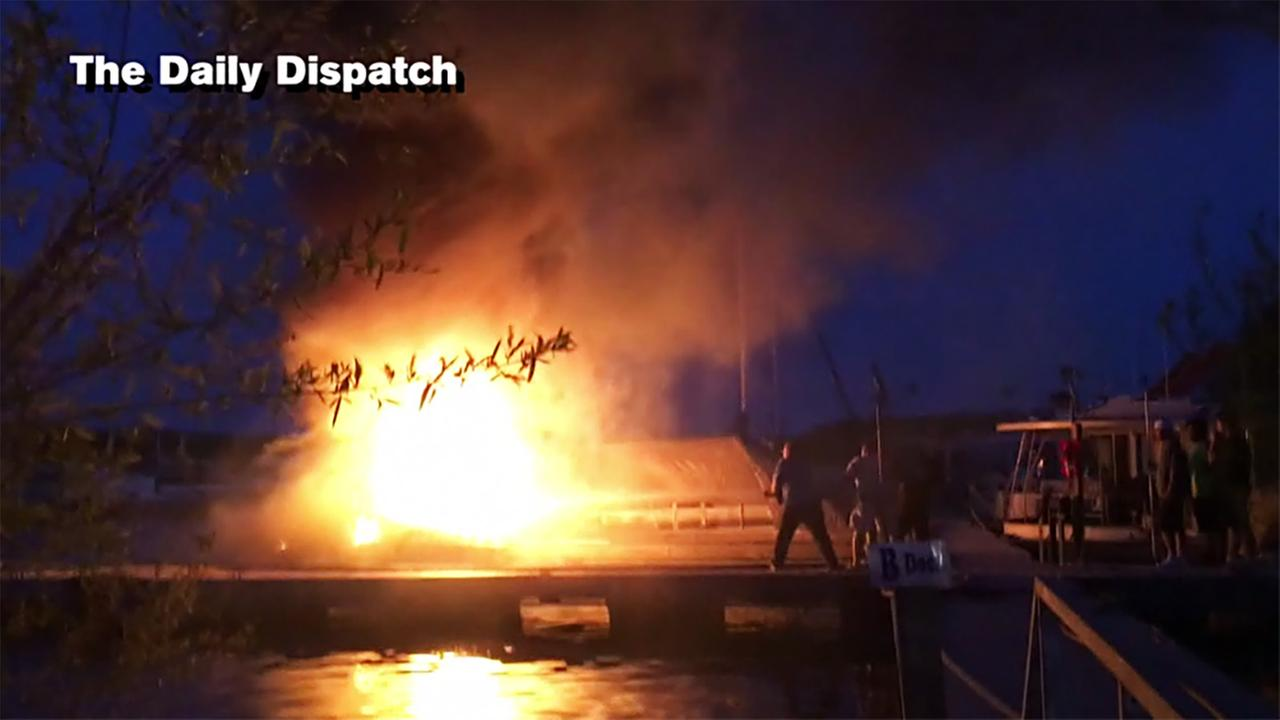 This video still from the Daily Dispatch shows attempts to battle the blaze.Courtesy of the Daily Dispatch