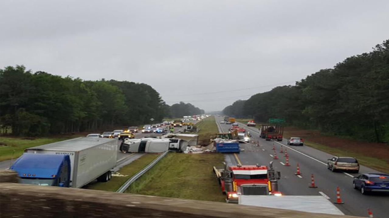 Sections of I-95 are closed due to an accident that happened Sunday afternoon.