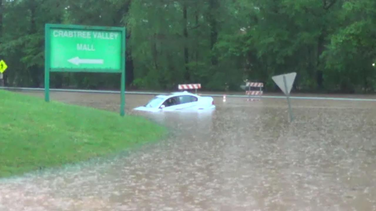 A submerged car near Crabtree Valley Mall in Raleigh