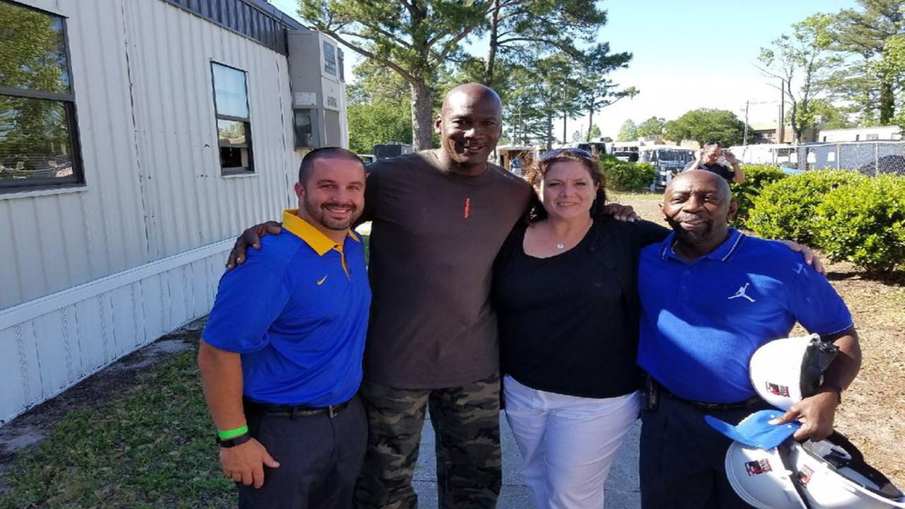 Michael Jordan visits alma mater in Wilmington, NC