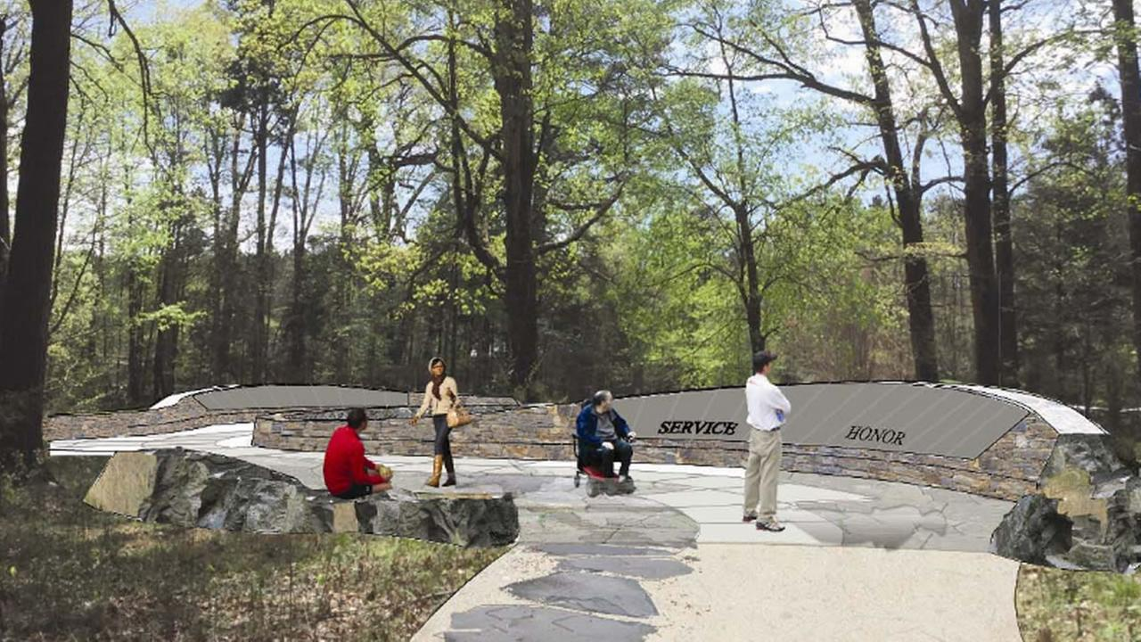 A rendering of what the completed memorial will look like (image courtesy Orange County Veterans Memorial at Chapel Hill)