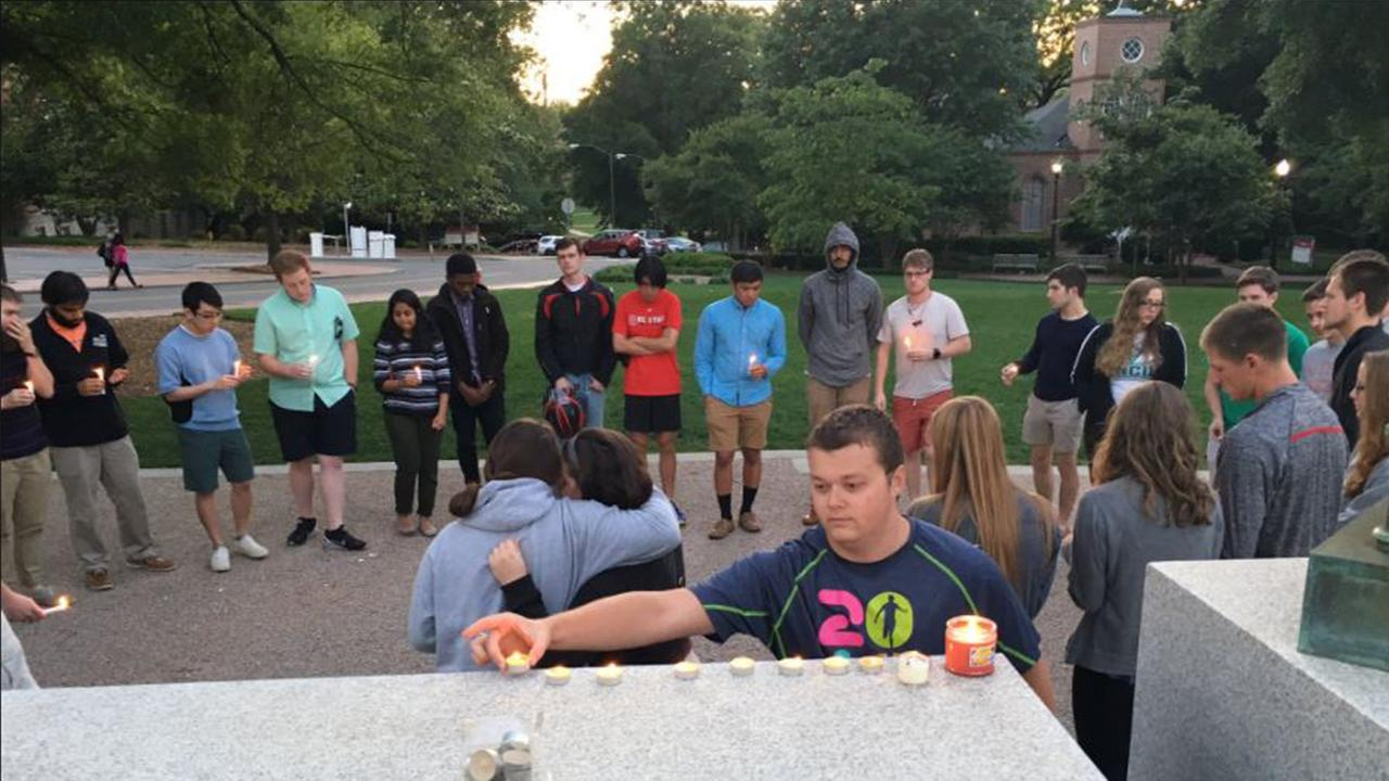 Students and friends held a vigil for Cheyanne Hass Sunday night.