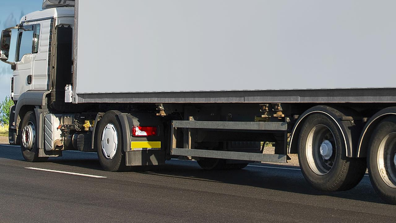A truck fitted with side rails