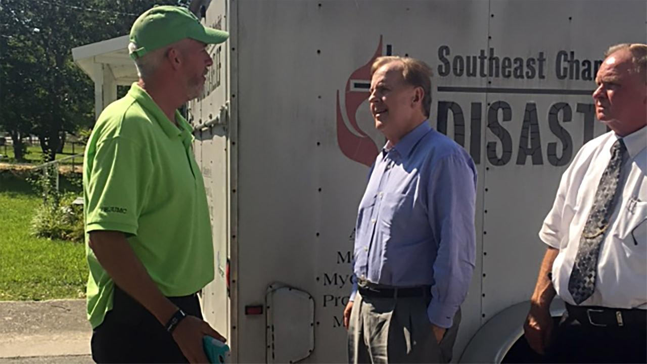 US Rep. Robert Pittenger, center toured Robeson County on Monday.