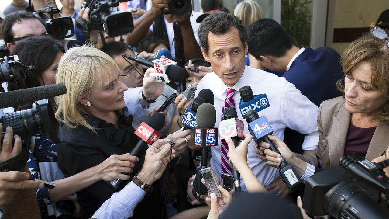 Anthony Weiner speaks to reporters (AP Photo/John Minchillo)