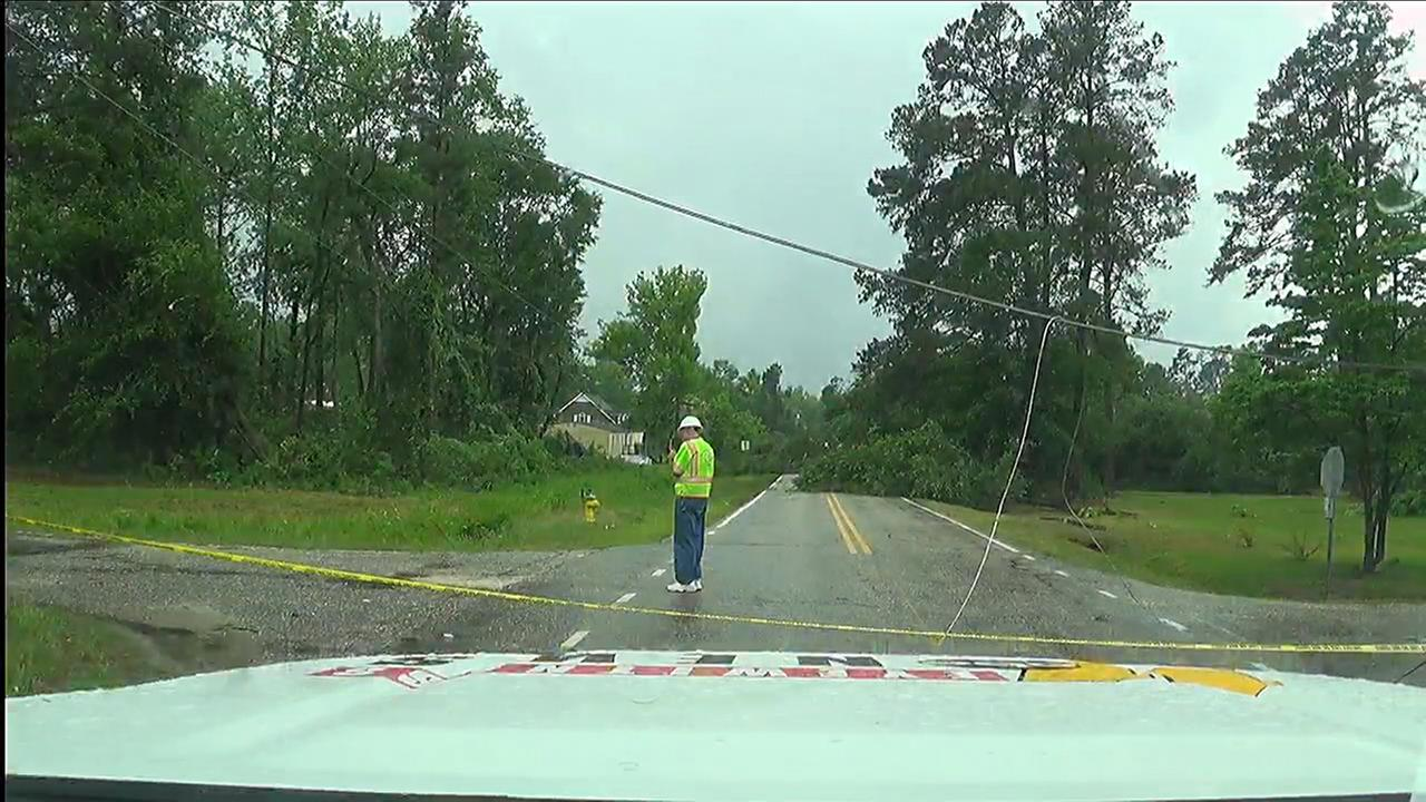 A power line is down in Autryville at E. Vinson Avenue and Grey Street.