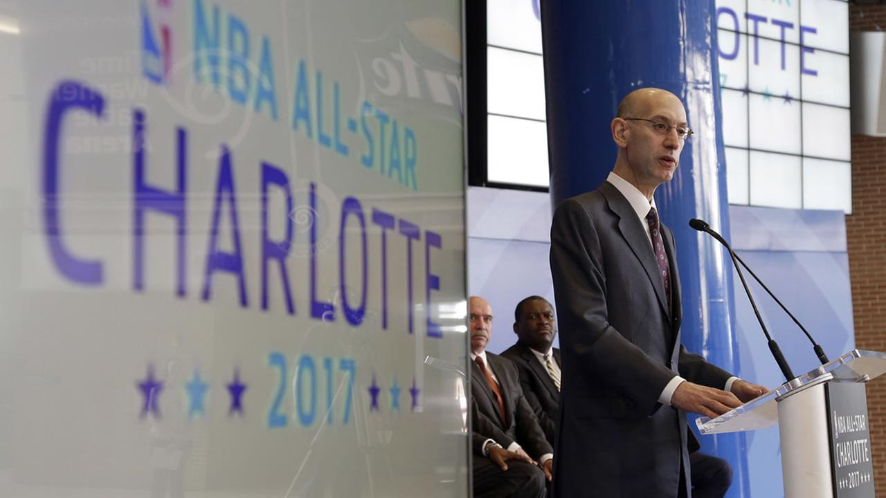 NBA Commissioner Adam Silver announcing the 2017 All-Star game in Charlotte that was later taken away. (2015 AP photo/Chuck Burton)