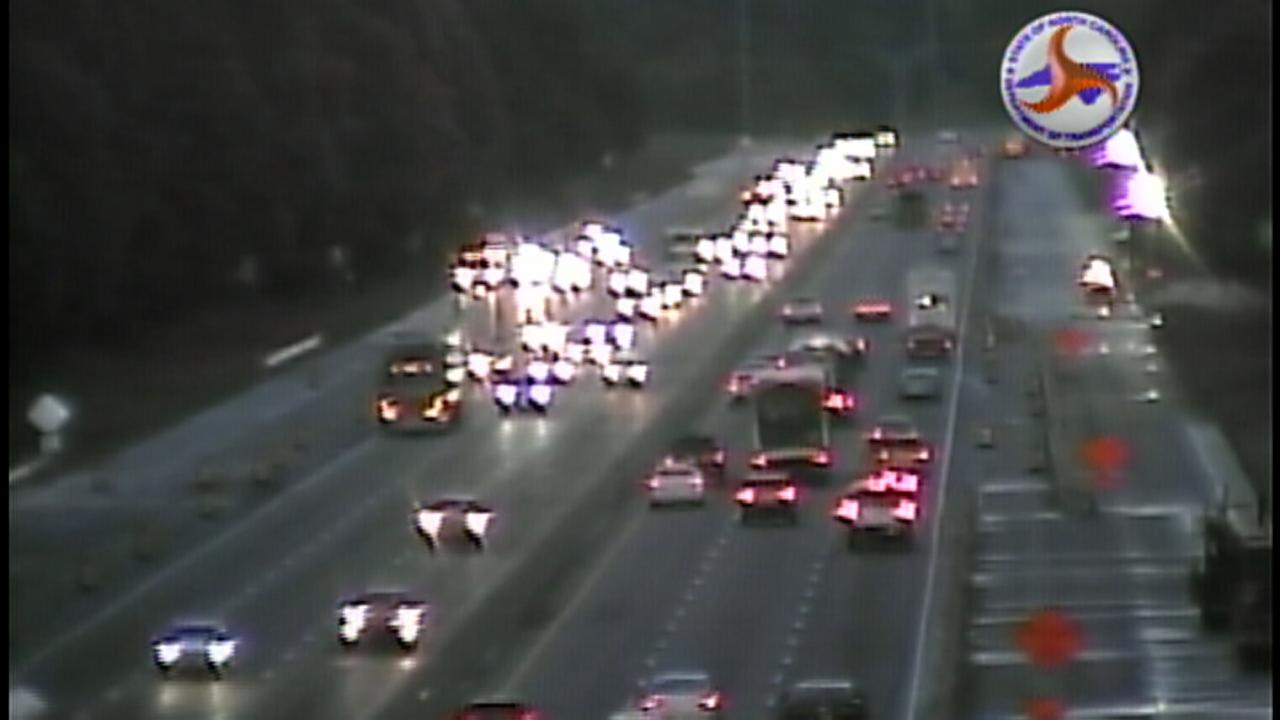 Raleigh Police investigate a shooting call on I-40 Thursday.