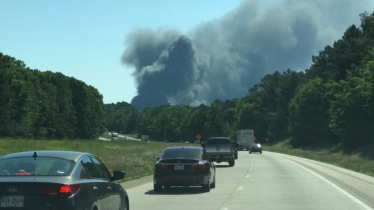 Huge clouds of smoke were seen from I-85 (image courtesy Nate Ellison)