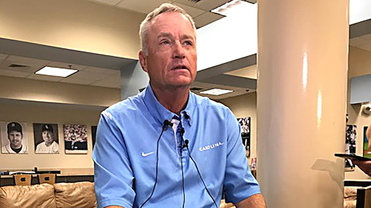 UNC baseball coach Mike Fox speaks to the media Monday.
