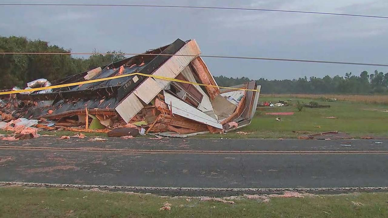 A mobile home destroyed by the storms.