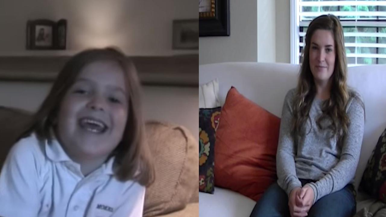 Mackenzie on her first day of 1st grade (left), her first day of 12th grade (right)