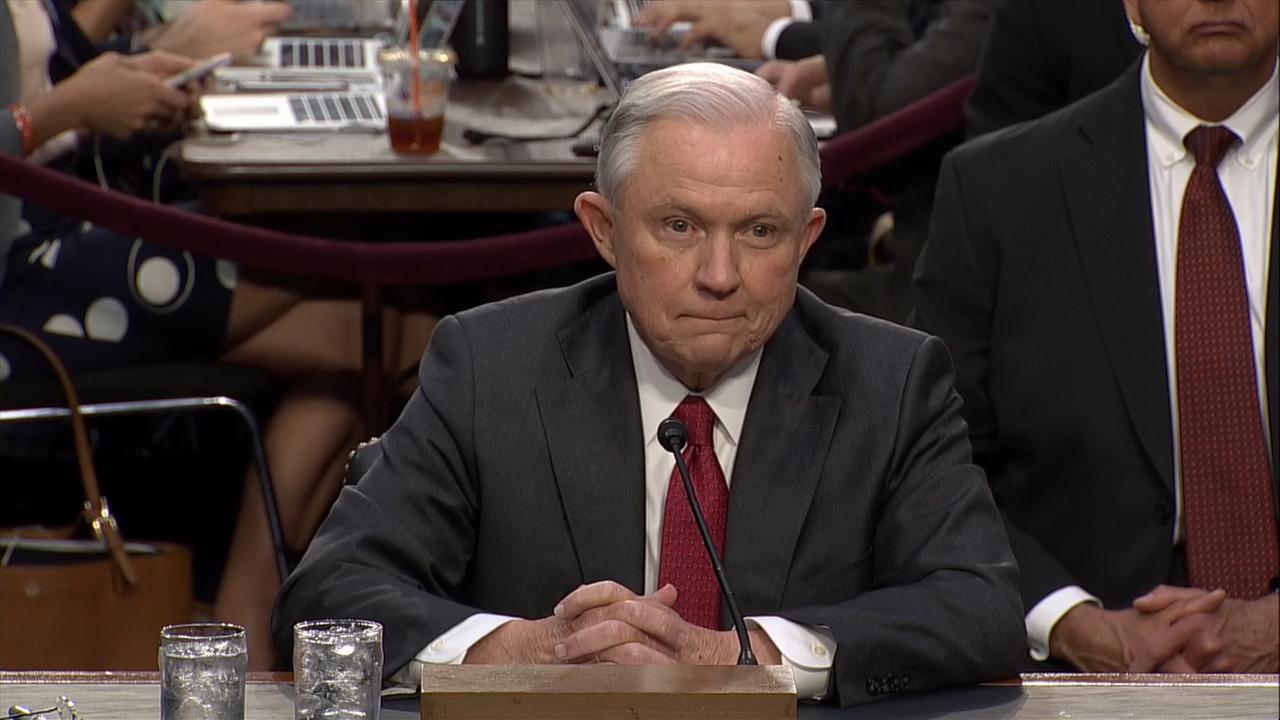 Attorney General Jeff Sessions testifies before Senate Intelligence Committee on June 13, 2017