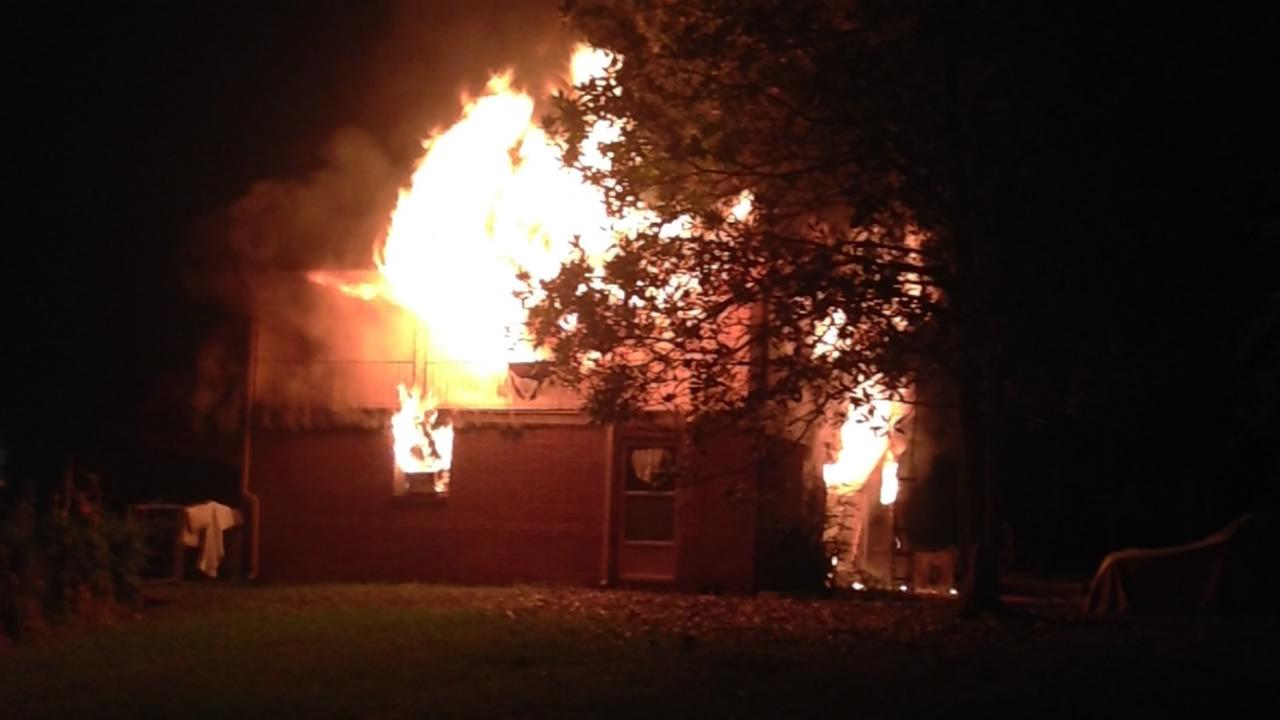 A home burns in the 12-hundred block of Durhams Red Oak Avenue (image courtesy Durham Fire Department)