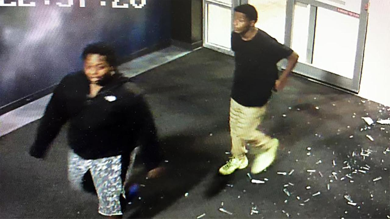 A surveillance image of two suspects in the break-in at Galaxy Fun Park.