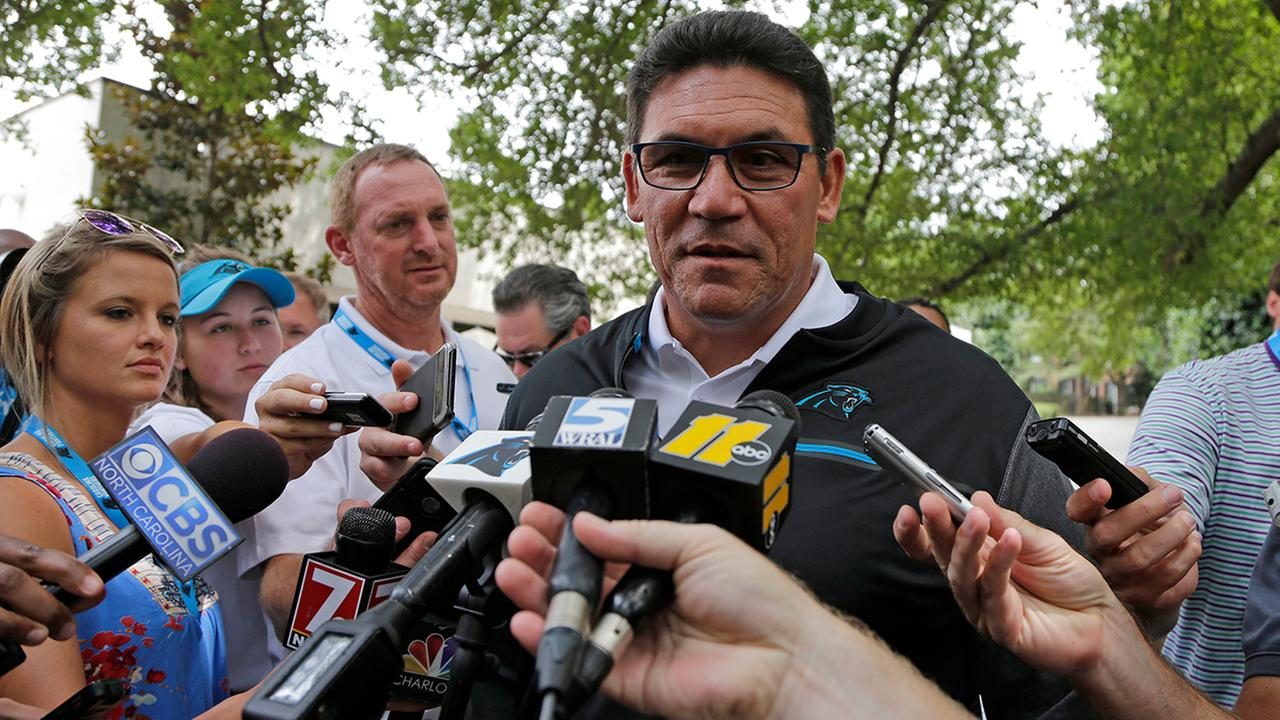 Ron Rivera speaks to the media as Panthers open camp Tuesday.