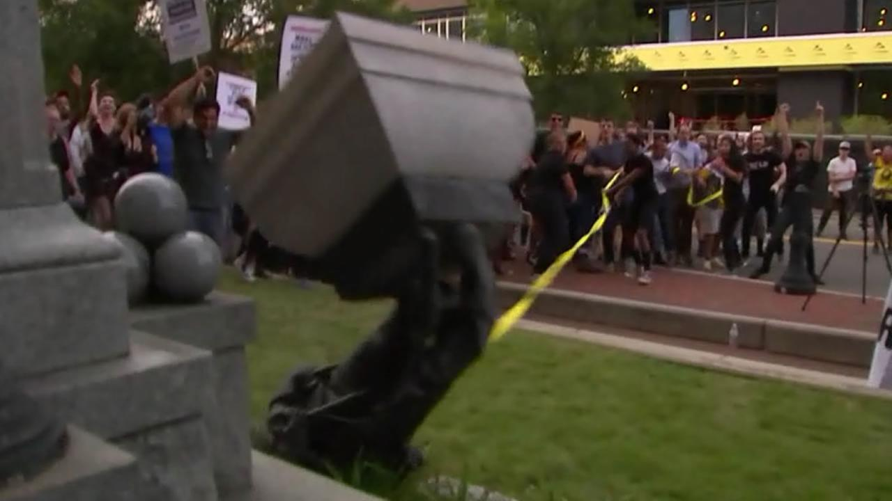 Charges dropped against 3 accused of knocking down Confederate statue outside Durham courthouse